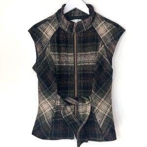 CABI. Wool Plaid Vest with tie waist. Size M.